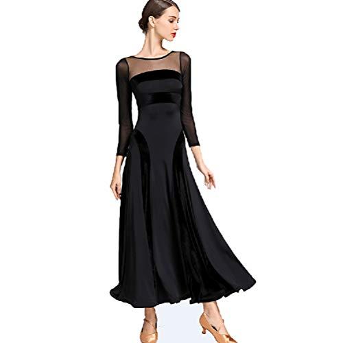 MoLiYanZi Lange Ärmel Ballsaaltanz Kleider Für Frauen Samt Mesh Modernes Nationales Standardkleid Cha Cha Röcke Performance Kostüm, M
