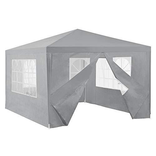 [casa.pro] carpa pabellón para jardín 400 x 300 x 255cm quiosco gazebo cenador de jardín estructura de metal plegable gris oscuro