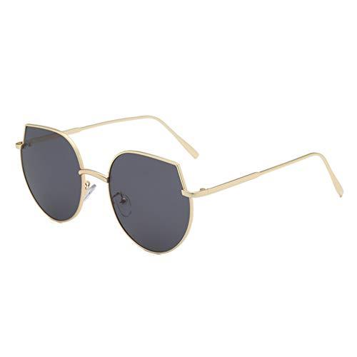 FeiliandaJJ Klassisch Metall Sonnenbrille Damen Herren Großer Rahmen Brillenfassungen, Mode Vintage Sonnenbrille Retro Unisex Sunglasses (B)