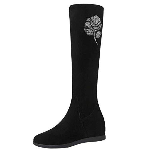 Miss Li Overknee-Stiefel Herbst Und Winter Damen-Reitstiefel Mit Flachem Boden Work Utility Footwear,Black(rose)-35