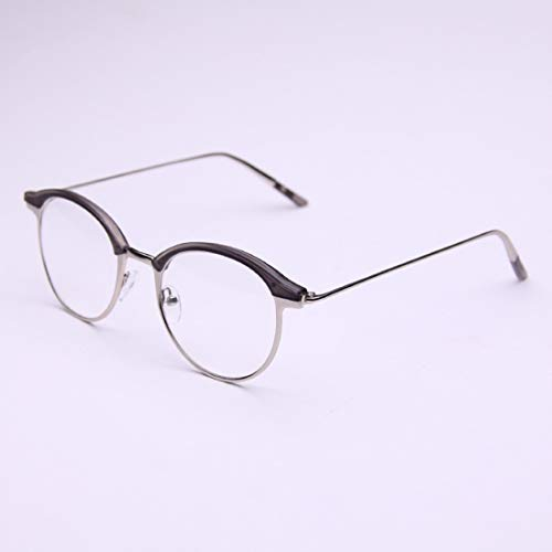 Shiduoli Halbrunde Brillen Brillen für Männer und Frauen ohne Rezept (Color : Gray)