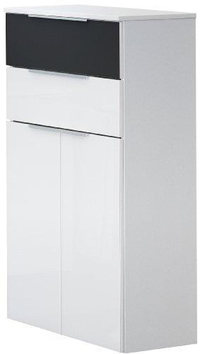 Fackelmann 80920 Midischrank Kara Bianco, 2 Türen, 2 Schubladen (je 1 x Anthrazit und weiß), 1 Einlegeboden, BxHxT: 61 x 106.5 x 32 cm