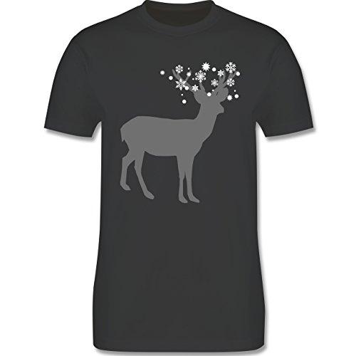 Weihnachten & Silvester - Rentier Schnee Eiskristalle - Herren Premium T-Shirt Dunkelgrau