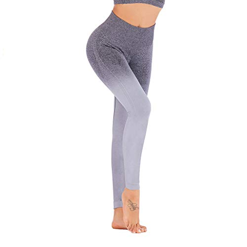 WOZOW Damen Leggings Gamaschen Farbverlauf Zweifarbig Print Druck Dünn Skinny Stretch Sport Hose Yoga Stoffhose High Waist Fitness Jogginghose Workout Trousers (S,Grau)
