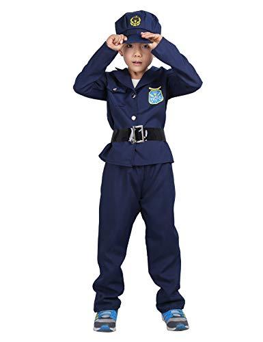 dPois Unisex Kinder Kostüm Polizei Police Kostüm Polizistin Kostüm Kleinkind Outfits Jacke+Hose+Hut+Gürtel Cosplay Halloween Fasching Karneval Kostüm Gr.104-140 Marineblau 104-116/4-6 Jahre