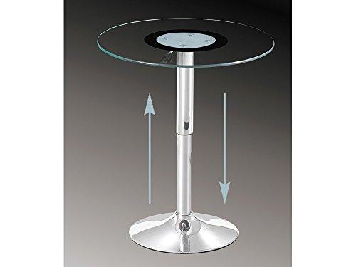 Concept Glas (86) Glastisch rund, höhenverstellbar Beistelltisch 60 cm Klarglas ESG