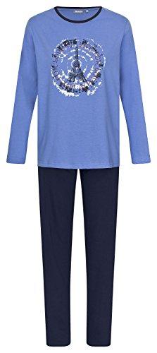 Damen Schlafanzug Pyjama lang aus 100% Baumwolle Gr. S M L XL Blau Navy