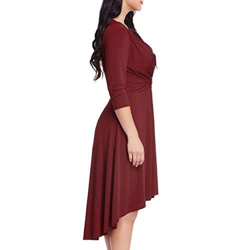 Sasstaids Sommerkleid,Mode Womens Casual Plus Größe Plus Größe 3/4 Ärmel Kreuz VAusschnitt festes Kleid
