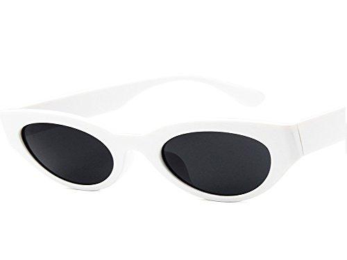 UMCCC Katzenaugen-Sonnenbrille Frauen Männer UV-Schutz Mode Wild Street Travel Retro,White