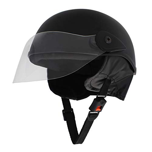 Sage Square Scooty Half Helmet for Men, Women (Black Matte, Medium)