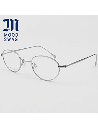MOMOQU Sun Glasses Ultra-Light Frame Brillengestell Herren Retro Literary Chain Titan Alloy Round Brillengestell Damen Small Face, Hellgrau