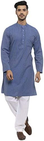 NEUDIS by Dhrohar Premium Cotton Stripe Long Kurta & Pajama Form
