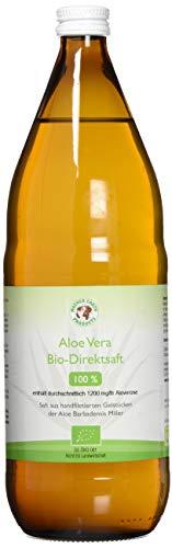 Bio Aloe Vera Premium 100% Direktsaft   Handfiletiert   Reich an natürlichen Inhaltsstoffen   Durchschnittlich 1200mg/l Aloverose   Braunglasflaschen   1 x 1000ml