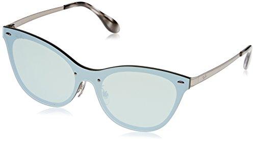 Ray-Ban RAYBAN Damen Sonnenbrille 3580n, Brushed Silver/Darkgreenmirrorsilver, 43