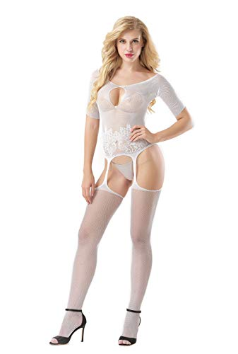 Caige Damen Sexy Dessous, XL Sexy Dessous Uniform Versuchung hohl Einteilige Mesh Kleidung Onesies,White