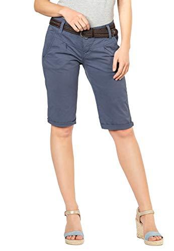 Fresh Made Sommer-Hose Bermuda-Shorts für Frauen | Kurze Chino-Hose mit Flecht-Gürtel | Basic Shorts aus Baum-Wolle Middle-Blue S -