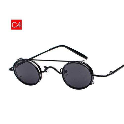 GJYANJING Sonnenbrille Kleine Runde Sonnenbrille Männer Vintage Metall Punk Clip Auf Sonnenbrille Männlich Retro Brillen Eyewear Steampunk Brille