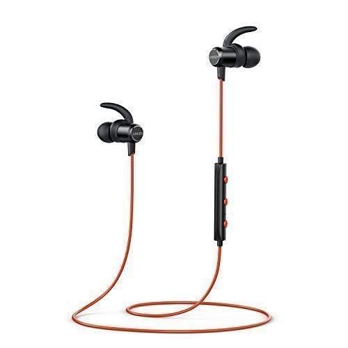 Anker SoundBuds Slim Bluetooth Kopfhörer Kabellos und Magnetverschluss, Wasserfest Sport Headset mit Mikrofon für iPhone, iPad, Samsung, Nexus, HTC und mehr(Rot) thumbnail