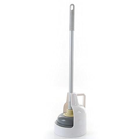 Toilettes Piston et Hideaway support de rangement pour salle de bain–Blanc/Acier inoxydable brossé