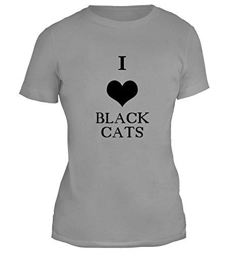 Mesdames T-Shirt avec I Love Black Cats Illustration imprimé. Gris