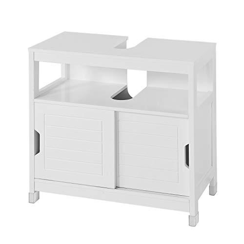 SoBuy® FRG128-W Waschbeckenunterschrank Badmöbel Badschrank mit Fußpolster Waschtisch Unterschrank weiß -