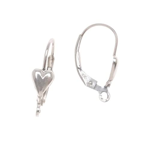 Sterling Silver Earrings Leverbacks With Heart (1