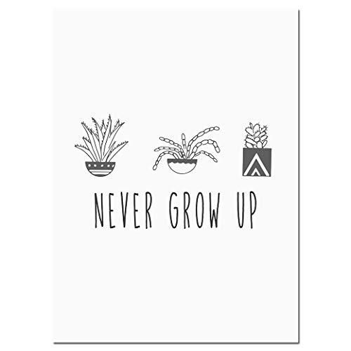 ZSHSCL Plantas Cactus Negro Blanco Posters Arte De La Pared Lienzos Cuadros De La Pintura Niños Decoración del Dormitorio, 50X70Cm Sin Marco, Cuadro 3