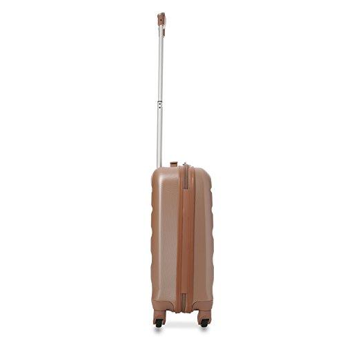 Aerolite Leichtgewicht ABS Hartschale 4 Rollen Handgepäck Trolley Koffer Bordgepäck Kabinentrolley Reisekoffer Gepäck, Genehmigt für Ryanair, Easyjet, Lufthansa und viele mehr (Roségold + Kohlegrau) - 3