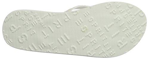 ESPRIT Damen Alice Glitter Zehentrenner Weiß (100 White)