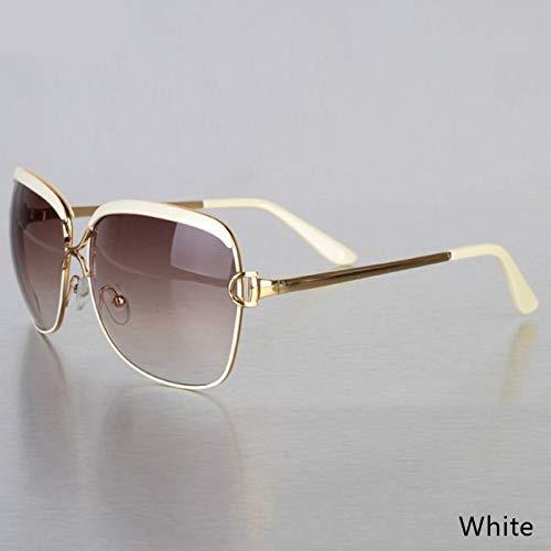 Aprigy - Fashion Square Sonnenbrillen für Frauen Sonnenbrillen Metallrahmen Sonnenbrillen Damen Gafas [Weiß]