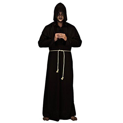 Zhuhaitf Karneval Halloween Partei Cosplay Mittelalterlich mit Kapuze Monk Renaissance Priest Robe Fasching Kostüm- One ()