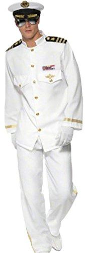 Karnevalskomplettkostüm Luxus Kapitän, XL, Weiß (Militär Kostüme Männer)