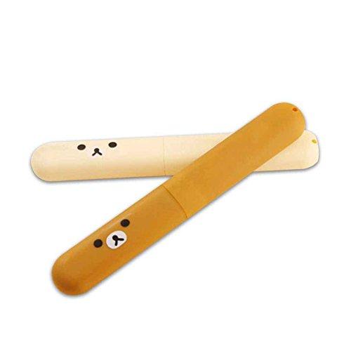 Preisvergleich Produktbild fgyhty Tragbare ABS Plastik-Bären-Muster-Zahnbürste-Aufbewahrungsbehälter für Reisen 2ST