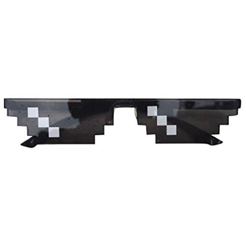 Huhu833 New Mode 8 Bit Pixel Sonnenbrille Unisex Sonnenbrille Reise Sonnenbrille (Schwarz)