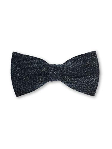 Olymp pre tied bow tie in navy sharkskin pattern - ONE SIZE Navy Silk Bow Tie