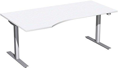 Elektrisch höhenverstellbarer Schreibtisch, links, 1800x1000x680-1160, Weiß/Silber, Geramöbel +
