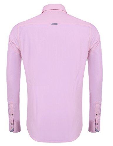 ... Hasuit Herren Hemd Baumwolle Slim Fit Langarm Farbekombination Basic  Mode Rosa ... 9c5820cb6b