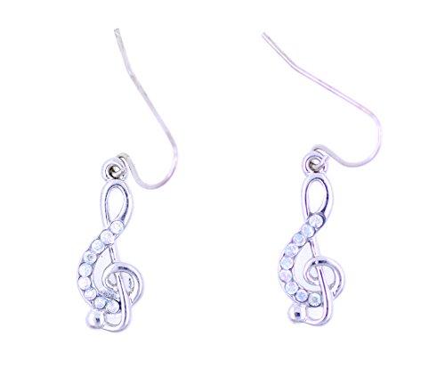 Lizzyoftheflowers–Plata Tono De Nota Musical agudos clef con cristal pendientes