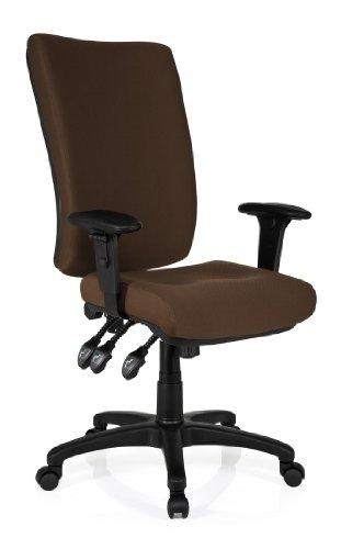 hjh OFFICE 702140 Bürostuhl Drehstuhl ZENIT HIGH Stoff braun, extrem dicke feste P...