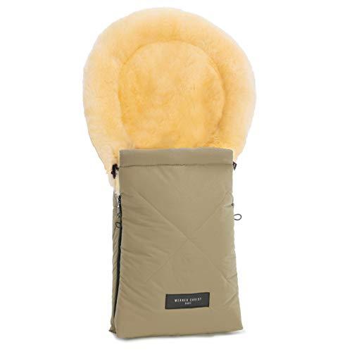 Lammfell-Fußsack OSLO für Babywanne von WERNER CHRIST BABY - universal Winterfußsack aus medizinischem Fell, für Tragetasche, Babyschale & Kinderwagen, in sahara (beige)