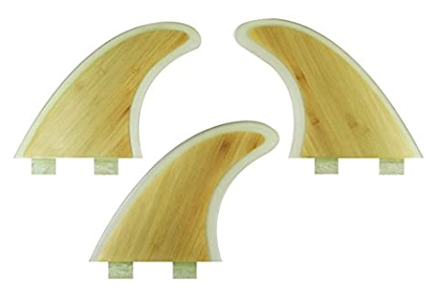 Maelstorm Fiberglass Bamboo Surfboard Fins with Fin Keys and Screws Tri (3 fins) Fin Performance Core Glass Flex G5 Size Thruster Set for Surf