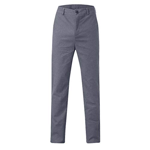 CAOQAO Pantalone Uomo Pantaloncini Jeans/Pantaloni da Uomo Dritti in Cotone con Cerniera Sottile in Vita Tinta Unita Business Casual/Grigio/S-XXL