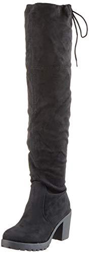 Damen Schuhe Stiefel Overknees Langschaft Boots Blockabsatz High Heels 127266 Schwarz Schwarz 39 Flandell (Heel High High Heels Knee)