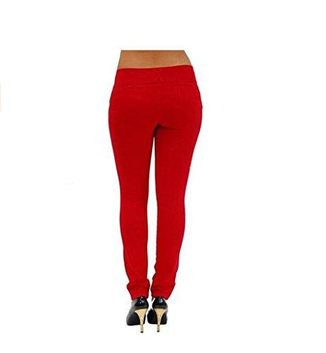 Damen Hose Skinny Röhre Push up Hose Stretch Slimfit Jeggings Leggings Stretch Röhrenjeans Jeans Rot