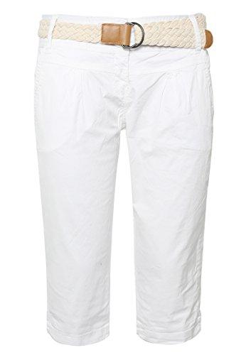 Fresh Made Damen Capri im Chino Design mit Flecht-Gürtel | Elegante kurze Hose ideal für den Sommer white M