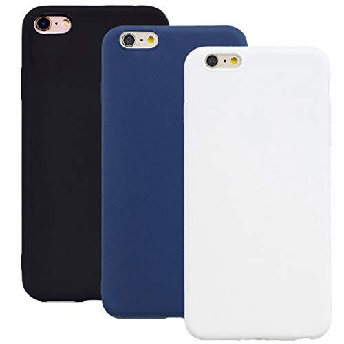 Coque en Silicone pour iPhone 6S, Misstars Ultra Mince Souple TPU Gel Mat Bumper Doux Léger Anti Rayure Antichoc Housse Étui de Protection pour iPhone 6 / 6S (4,7 Pouces), Noir + Bleu Foncé + Blanc