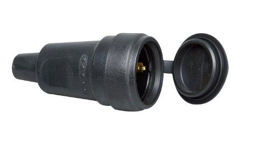 Kopp 181416067 Schutzkontakt-Gummikupplung mit Spritzwasserschutzkappe und Knickschutztülle
