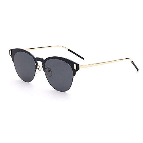 Aihifly Sonnenschutz Vintage Semi-Randlose Niet Dekoration Sonnenbrille für Frauen Männer UV-Schutz für Outdoor Driving Vacation Beach (Farbe : Schwarz)