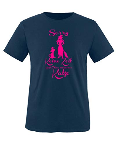 (Comedy Shirts - Sorry, Keine Zeit - Habe Plaene mit meiner Katze - Mädchen T-Shirt - Navy/Pink Gr. 86-92)