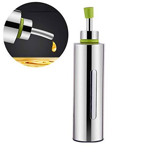250 ml Olivenöl, Essigdosen, sichtbarer Edelstahl-Flüssigkeitsspender für Sojasaucen, auslaufsicher, mit Ausgießer, Allzweck-Behälter Free Size silber
